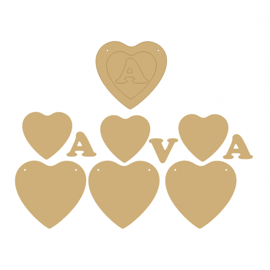 3mm MDF 3 Piece Soft Heart Bunting (single with letter) Bunting