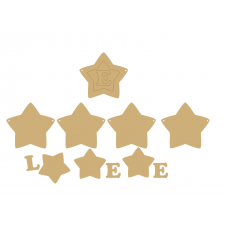 3mm MDF 3 Piece Soft Point Country Star Bunting (single with letter) Bunting