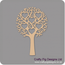 3mm MDF Tree With 6 Hearts - Personalised With Names Or Any Wording Trees Freestanding, Flat & Kits