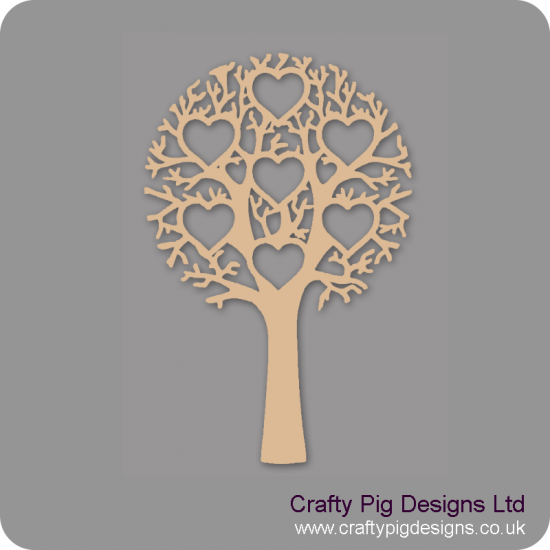 3mm MDF Tree With 7 Hearts - Personalised With Names Or Any Wording Trees Freestanding, Flat & Kits