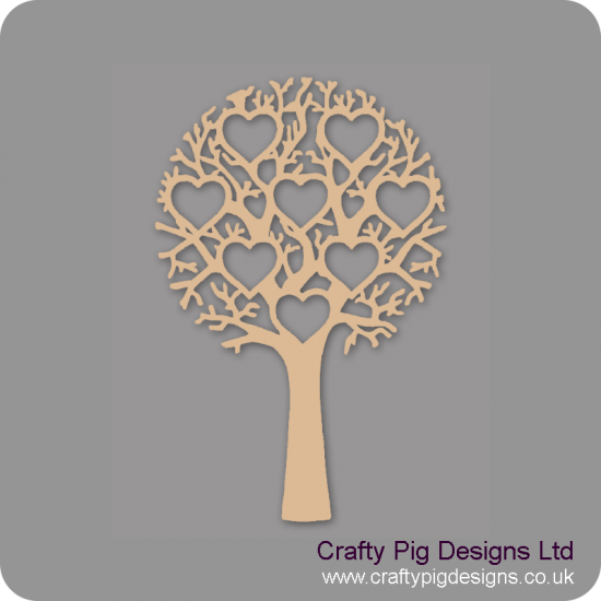 3mm MDF Tree With 8 Hearts - Personalised With Names Or Any Wording Trees Freestanding, Flat & Kits