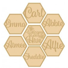 3mm Layered Hexagon Bee Hive Names Personalised and Bespoke