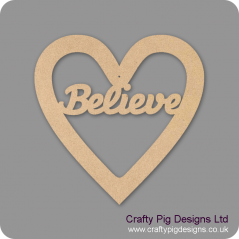3mm MDF Christmas Heart With Believe In Susa Font Christmas Shapes