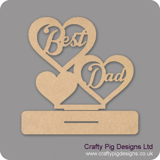 3mm MDF Best Dad And 3 Hearts On Plinth Fathers Day