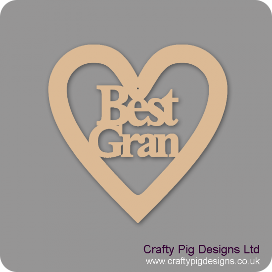 3mm MDF Best Gran Heart Hearts With Words
