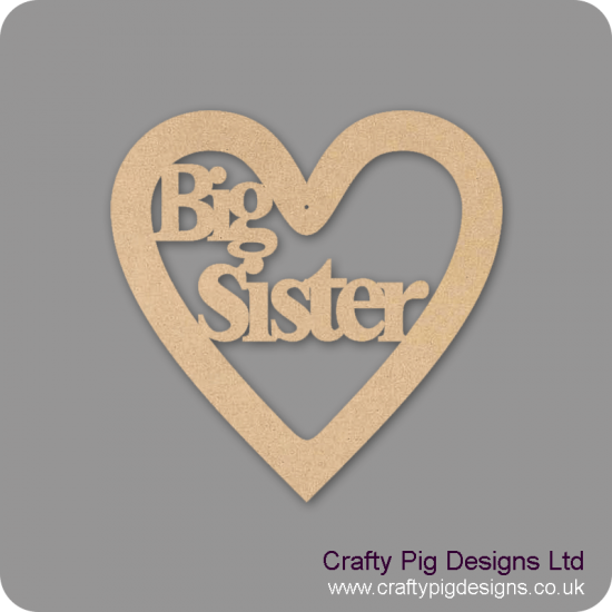 3mm MDF Big Sister Heart
