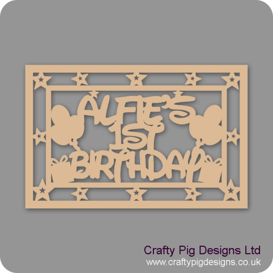 3mm MDF Rectangular Birthday Box Topper - Personalised With Name And Age Personalised and Bespoke