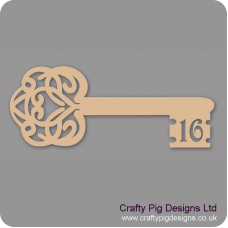 3mm MDF Birthday Key 16 Keys and Keyrings