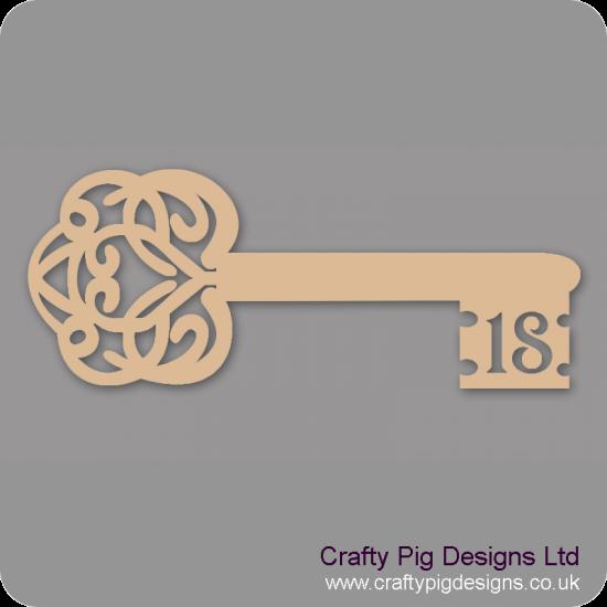 3mm MDF Birthday Key 18 Keys and Keyrings