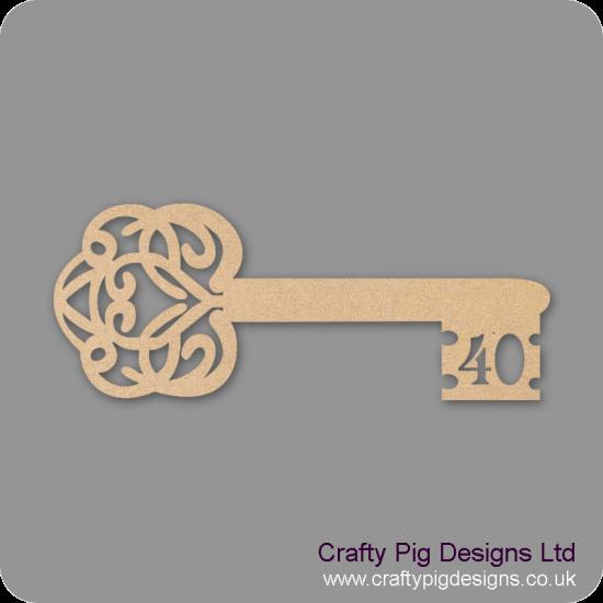 3mm MDF Birthday Key 40 Keys and Keyrings