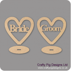 3mm MDF Bride/Groom Heart Plinths (plain border) Hearts With Words