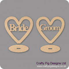 3mm MDF Bride/Groom Heart Plinths (plain border)