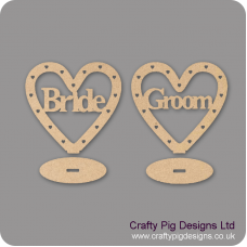3mm MDF Bride/Groom Heart Plinths - (with cut out hearts)
