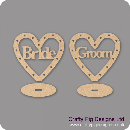 3mm MDF Bride/Groom Heart Plinths - (with cut out hearts) Hearts With Words