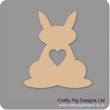 3mm MDF Bunny Rabbit With Heart Cut Out Easter