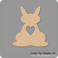 3mm MDF Bunny Rabbit With Heart Cut Out
