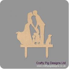 4mm MDF Family Wedding Topper (boy girl and dog) Personalised and Bespoke
