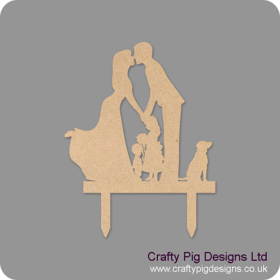 4mm MDF Family Wedding Topper (boy girl and dog)