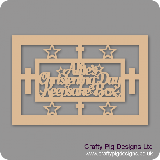 3mm MDF Rectanglular Christening Day Keepsake Box Topper - Personalised With Name (Version 1)