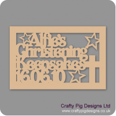 3mm MDF Rectangular Christening Day Keepsake Box Topper - Personalised With Name & Date (Version 3)