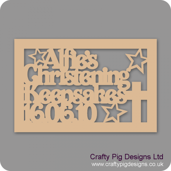 3mm MDF Rectangluar Christening Day Keepsake Box Topper - Personalised With Name & Date (Version 3)