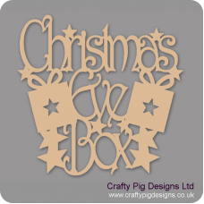 3mm MDF Square Christmas Eve Box Topper - with presents and stars  Christmas Quotes & Signs