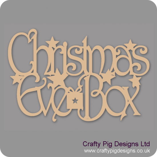 3mm MDF Rectangular Christmas Eve Box Topper with present and stars Christmas Quotes & Signs