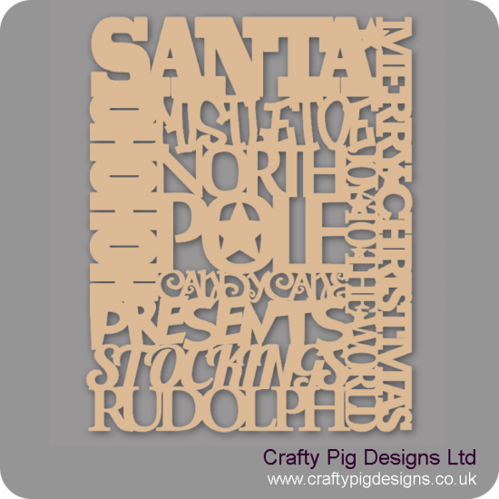 3mm MDF Mixed word Art sign Christmas Quotes & Signs