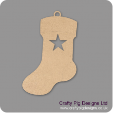 3mm MDF Christmas Stocking With Star Cut Out (pack of 5) Christmas Shapes
