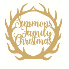Name Family Christmas Antler Plaque Personalised and Bespoke