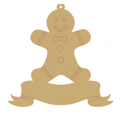 3mm Gingerbread Boy Ribbon Bauble (available in acrylic or mdf)