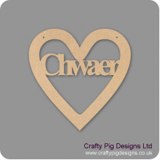 3mm MDF Chwaer Cut Out Heart Hearts With Words