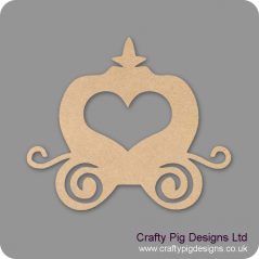 3mm MDF Cute Princess Carriage With Heart Window (by height) Christmas Shapes