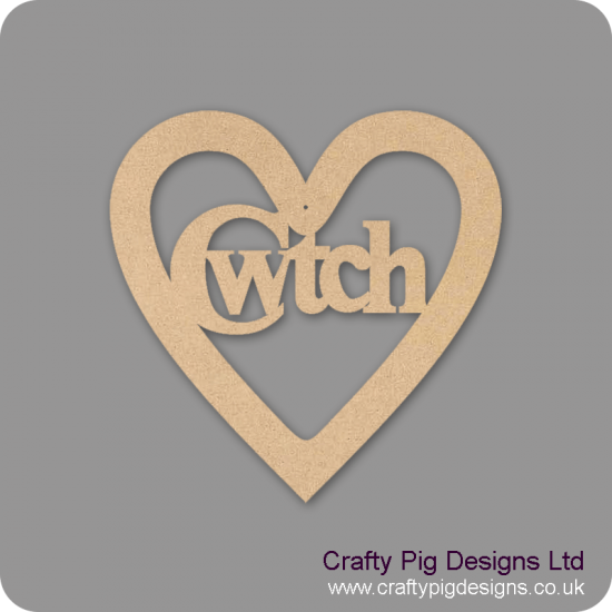 3mm MDF Cwtch In A Heart Hearts With Words