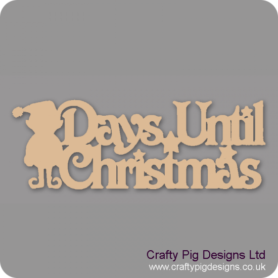 3mm MDF Days Until Christmas Plaque with elf chalkboard