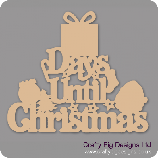 3mm MDF Days Until Christmas (gift box top) Chalkboard Countdown Plaques