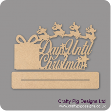 3mm MDF Days Until Christmas On Plinth With Present And Reindeer Chalkboard Countdown Plaques