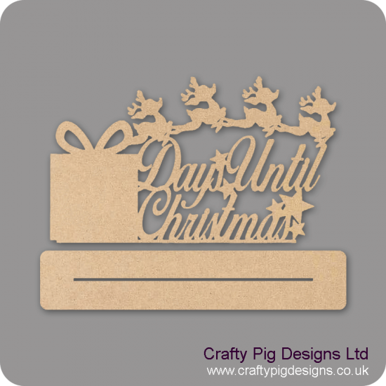 3mm MDF Days Until Christmas On Plinth With Present And Reindeer