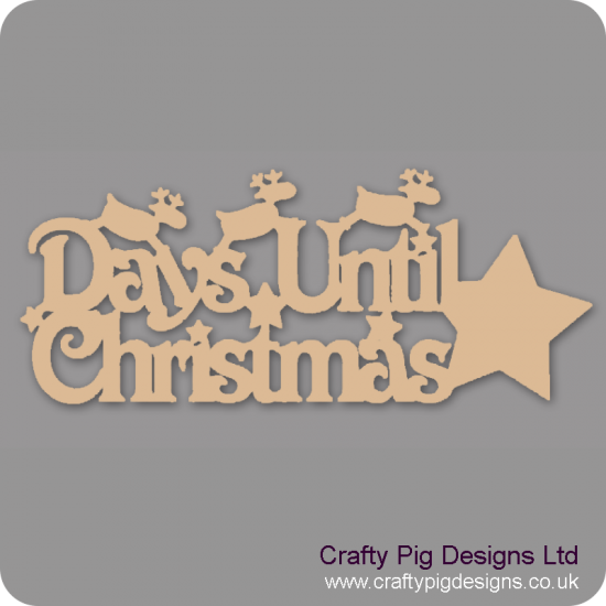 3mm MDF Days Until Christmas Plaque with  reindeer and Star chalkboard