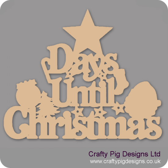 3mm MDF Days Until Christmas (Star top) Chalkboard Countdown Plaques