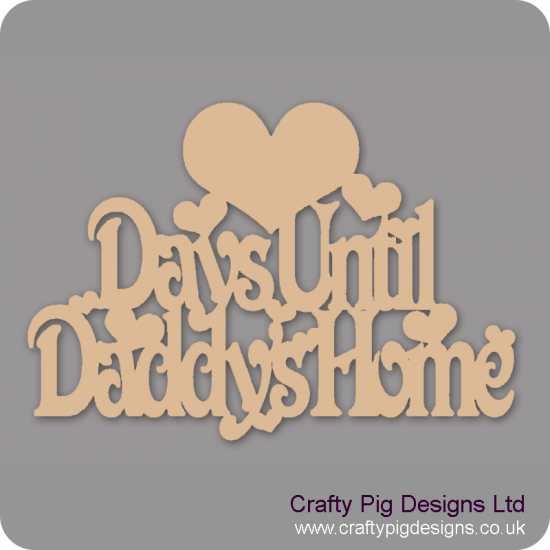 3mm MDF Days Until chalkboard plaque (with heart shape) Fathers Day