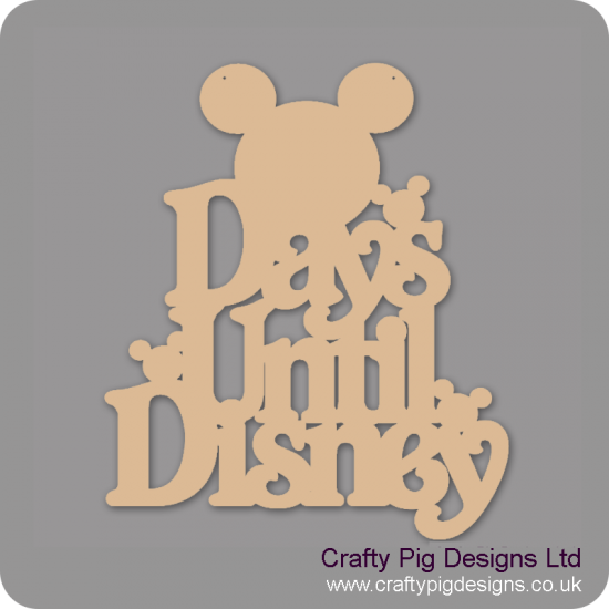 3mm MDF Days Until Disney hanging sign (mouse head) Chalkboard Countdown Plaques