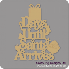 3mm MDF Days Until Santa Arrives (Gift Box Top) Chalkboard Countdown Plaques