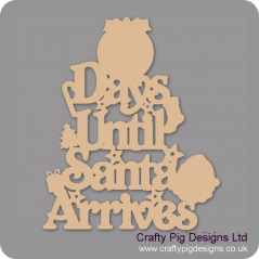 3mm MDF Days Until Santa Arrives (Pudding Top) Chalkboard Countdown Plaques