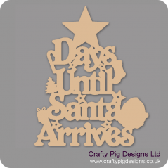 3mm MDF Days Until Santa Arrives (Star Top) Chalkboard Countdown Plaques