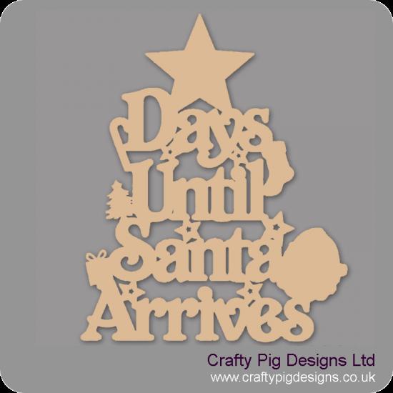3mm MDF Days Until Santa Arrives (Star Top) Chalkboard Countdown Plaques