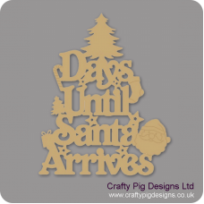 3mm MDF Days Until Santa Arrives (Xmas Tree Top) Chalkboard Countdown Plaques
