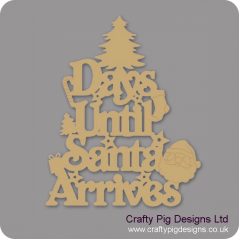 3mm MDF Days Until Santa Arrives (Xmas Tree Top) Chalkboard Countdown Plaques