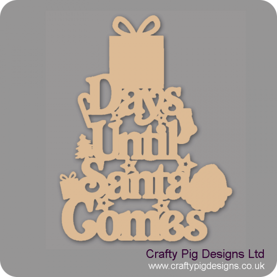 3mm MDF Days Until Santa Comes (Gift Box Top) Chalkboard Countdown Plaques