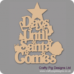 3mm MDF Days Until Santa Comes (Star Top) Chalkboard Countdown Plaques